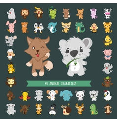 Set of 40 animal costume characters  eps10 vector