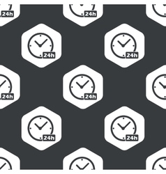 Black hexagon 24h workhours pattern vector