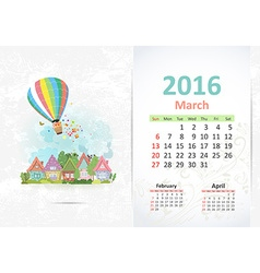 Cute sweet town calendar for 2016 march vector