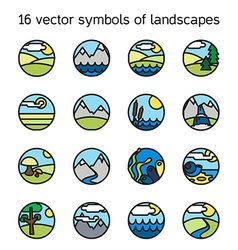 Landscape icons collection nature symdols vector