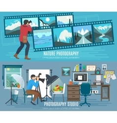 Photographer banner set vector