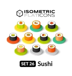 Isometric flat icons set 26 vector