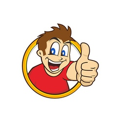 Cartoon guy thumbs up vector