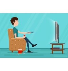 Man watching television on armchair flat vector