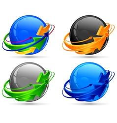circle arrows around color spheres vector image