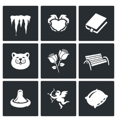 Set of spring dating icons melting vector