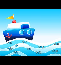 A boat in the ocean vector