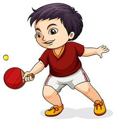 An asian boy playing tabletennis vector