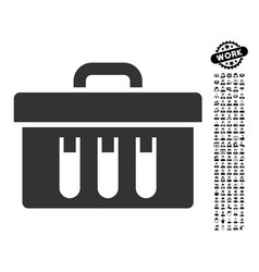 Analysis tubes case icon with people bonus vector