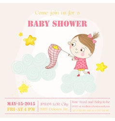 Baby girl catching stars on a cloud - baby shower vector