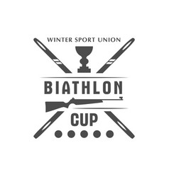 Biathlon logo badge winter vector
