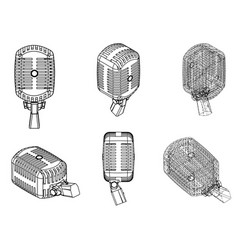 Black microphone on a white drawing vector