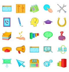 Business group icons set cartoon style vector