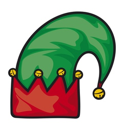 christmas elf hat vector image vector image