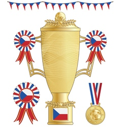 czech republic football trophy vector image vector image
