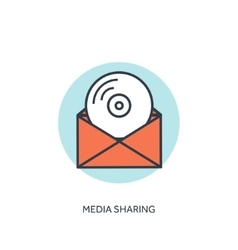 Flat lined compact disk icon Email icon Media vector image vector image