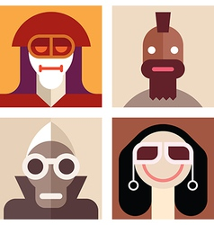 four cartoon avatars vector image vector image