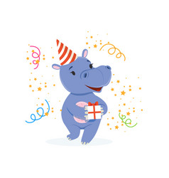 funny baby hippo character in a party hat holding vector image