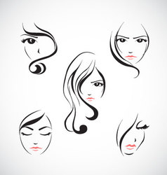 Icon set of beautiful woman with long hair vector image vector image