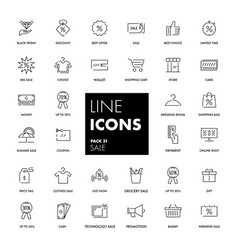 line icons set sale vector image vector image