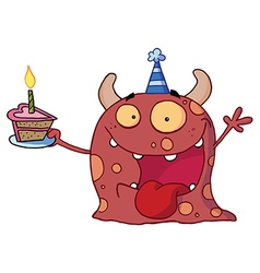 Monster wearing a party hat and holding a cake vector