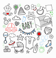 Newborn baby hand drawn doodle with toys vector