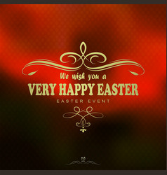 Orange background with the text of a happy easter vector