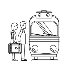 Person with travel suitcase in subway vector