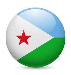 Round glossy icon of djibouti vector