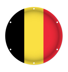 Round metallic flag of belgium with screw holes vector