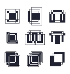 Set of geometric shapes trendy icons tattoo and vector
