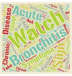 Sign of bronchitis text background wordcloud vector