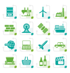 Stylized simple business and industry icons vector