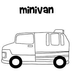 Tranportation of minivan hand draw vector