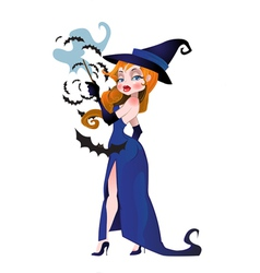 Witch with bats vector image vector image
