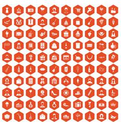 100 birthday icons hexagon orange vector