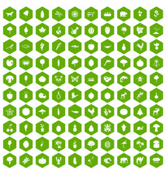 100 live nature icons hexagon green vector