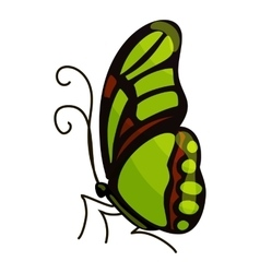 Green butterfly icon cartoon style vector