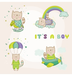 Baby cat set - baby shower or arrival card vector