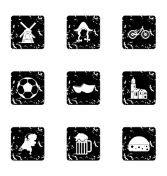 Attractions of holland icons set grunge style vector