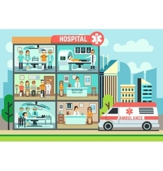 Hospital medical clinic building ambulance with vector