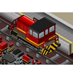 Isometric red train in rear view vector