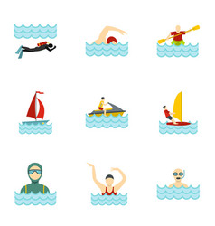 boating and swimming icons set flat style vector image