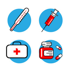Medicine and health symbols thin lines web icon vector