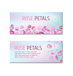 banners with rose petals vector image