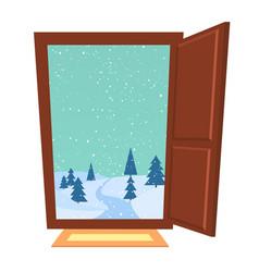 Open door in winter vector