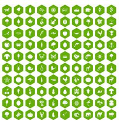 100 live nature icons hexagon green vector