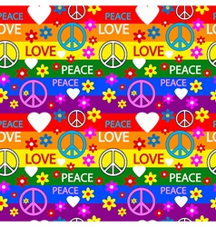 Hippie seamless pattern vector