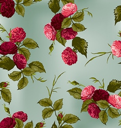 Seamless floral pattern with red and pink roses vector