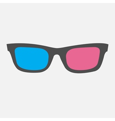 3D Glasses Icon Isolated Flat design style vector image vector image